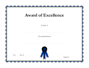 Free Printable Academic Certificate Of Excellence Template with regard to Academic Award Certificate Template