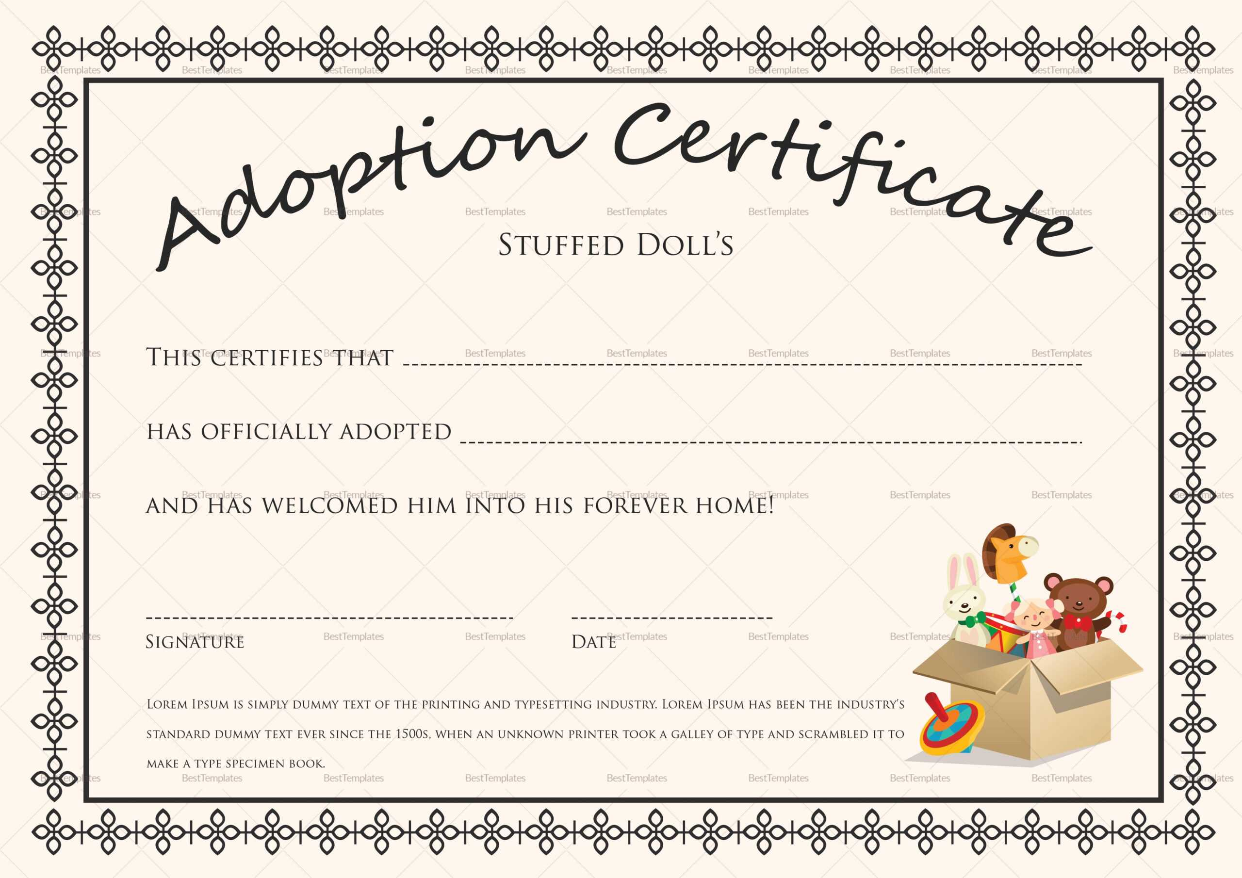 Free Printable Blank Baby Birth Certificates Templates With Baby Doll Birth Certificate Template