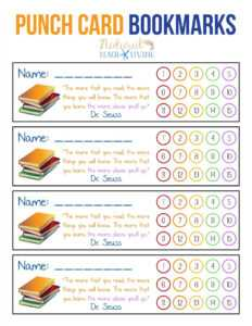 Free Printable Bookmarks For Kids – Punch Card Bookmarks for Free Printable Punch Card Template