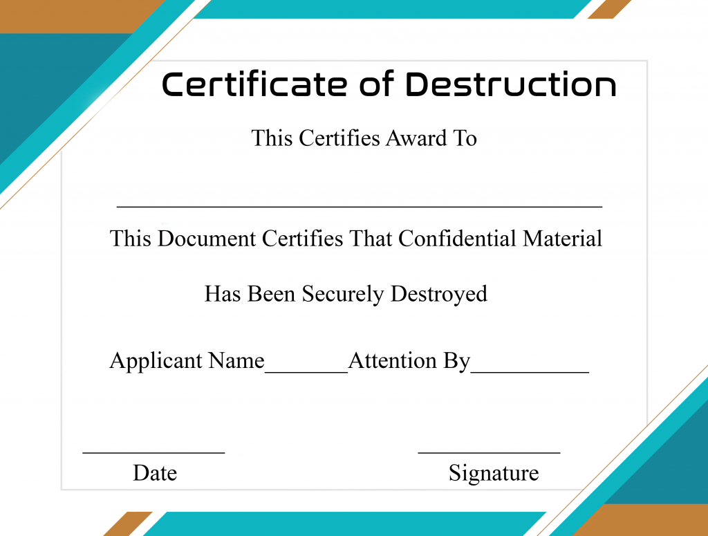 Free Printable Certificate Of Destruction Sample For Certificate Of Destruction Template