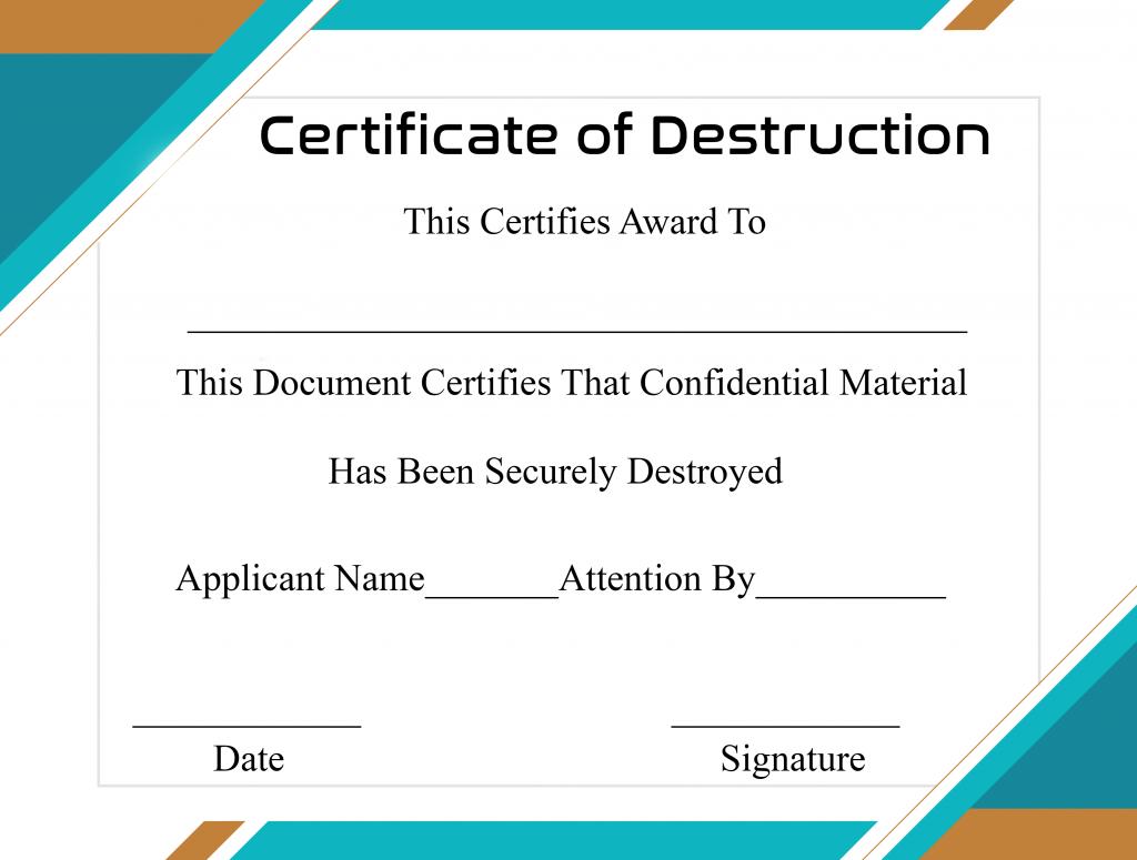 Free Printable Certificate Of Destruction Sample For Hard Drive Destruction Certificate Template