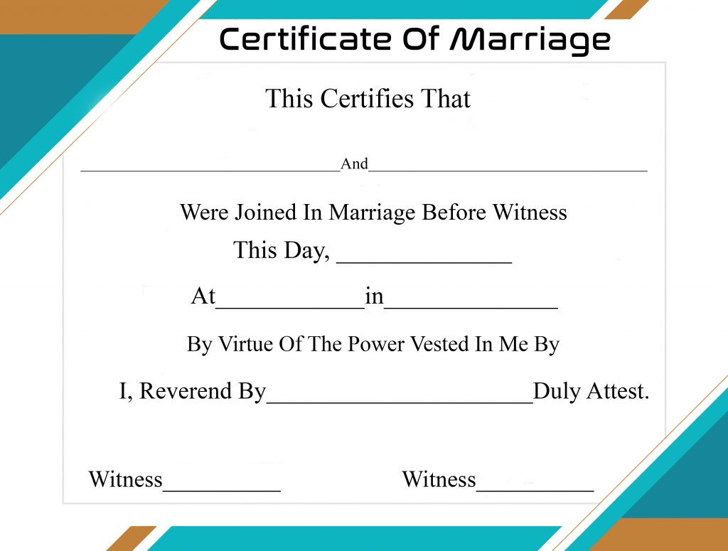 Free Printable Certificate Of Marriage Template In Certificate Of Marriage Template