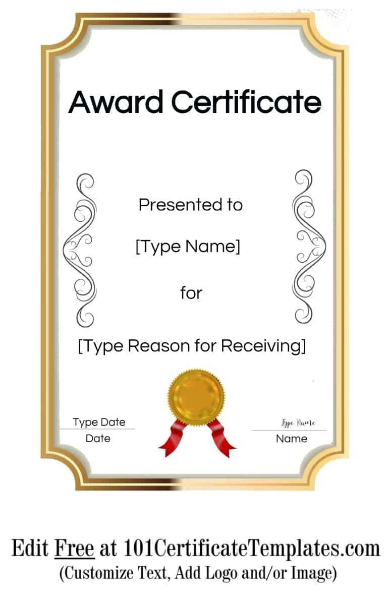 Free Printable Certificate Templates | Customize Online With Throughout Free Printable Blank Award Certificate Templates