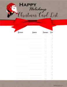 Free Printable Christmas Gift List Template pertaining to Printable Holiday Card Templates