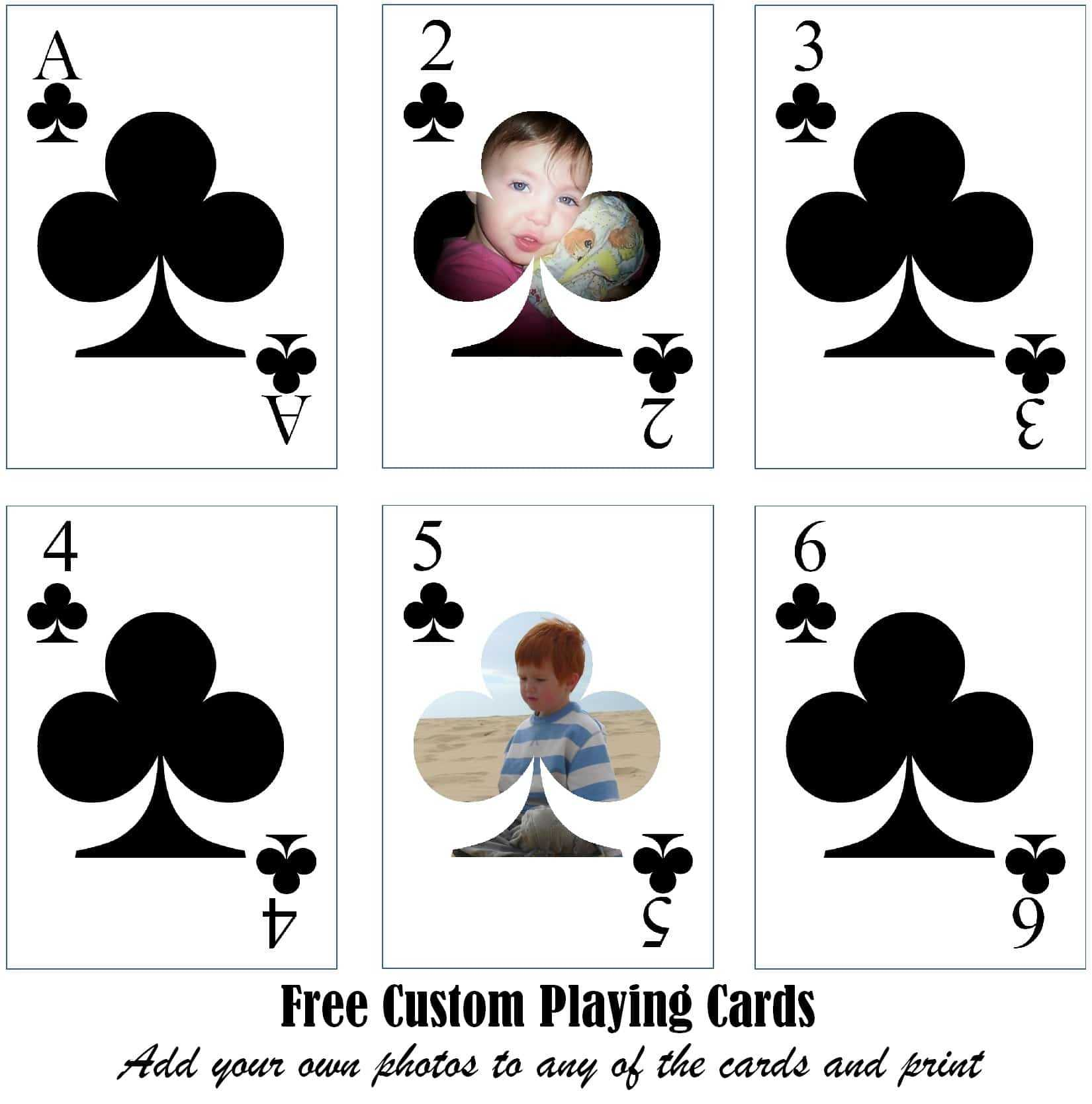 Free Printable Custom Playing Cards   Add Your Photo And/or Text Within Free Printable Playing Cards Template
