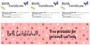 Free Printable: Doll Birth Certificates And Announcements throughout Baby Doll Birth Certificate Template