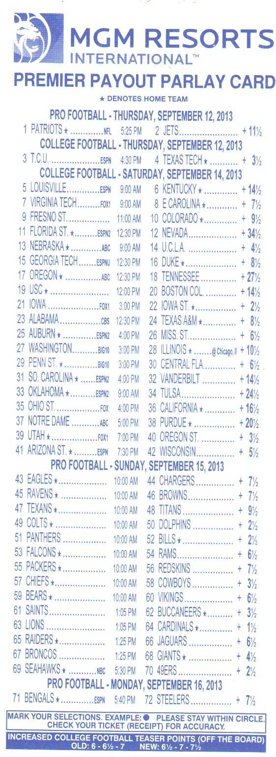 Free Printable Football Parlay Cards That Are Gratifying Inside Football Betting Card Template