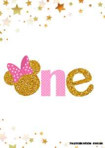Free Printable Pink And Gold Minnie Mouse 1St Birthday intended for Minnie Mouse Card Templates