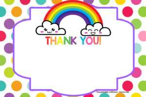 Free Printable Rainbow Invitation Template + Thank You Card regarding Free Printable Thank You Card Template