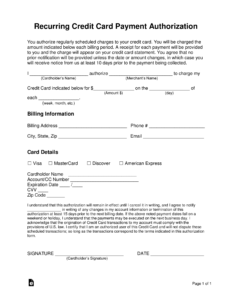 Free Recurring Credit Card Authorization Form – Word | Pdf in Credit Card On File Form Templates