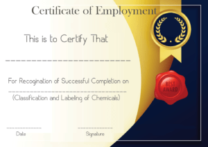 Free Sample Certificate Of Employment Template | Certificate with Sample Certificate Employment Template
