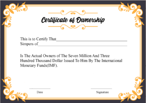 Free Sample Certificate Of Ownership Templates | Certificate pertaining to Certificate Of Ownership Template