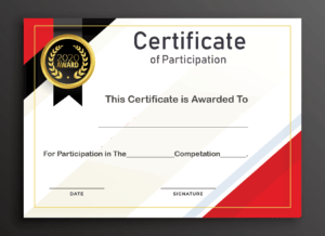 Free Sample Format Of Certificate Of Participation Template in Certificate Of Participation Template Pdf