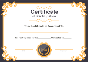 Free Sample Format Of Certificate Of Participation Template regarding Conference Participation Certificate Template