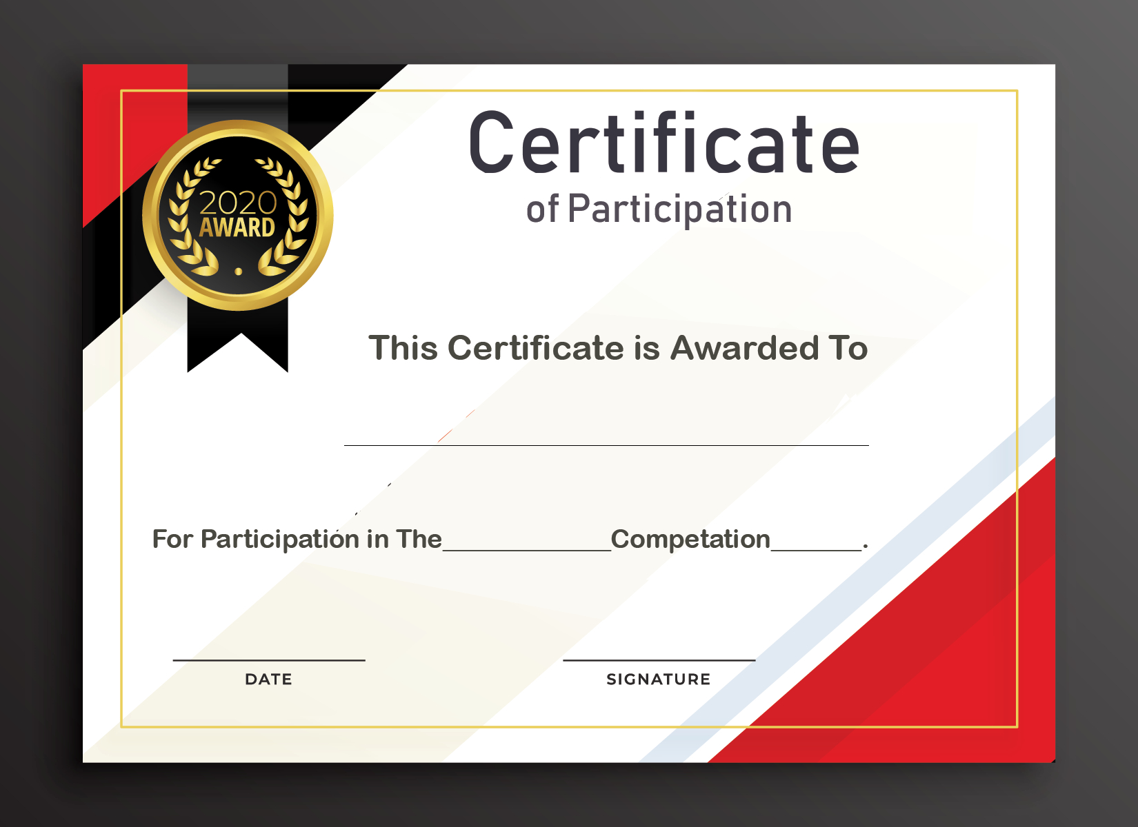 Free Sample Format Of Certificate Of Participation Template Throughout Certificate Of Participation Word Template