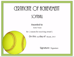 Free Softball Certificate Templates – Customize Online for Free Softball Certificate Templates