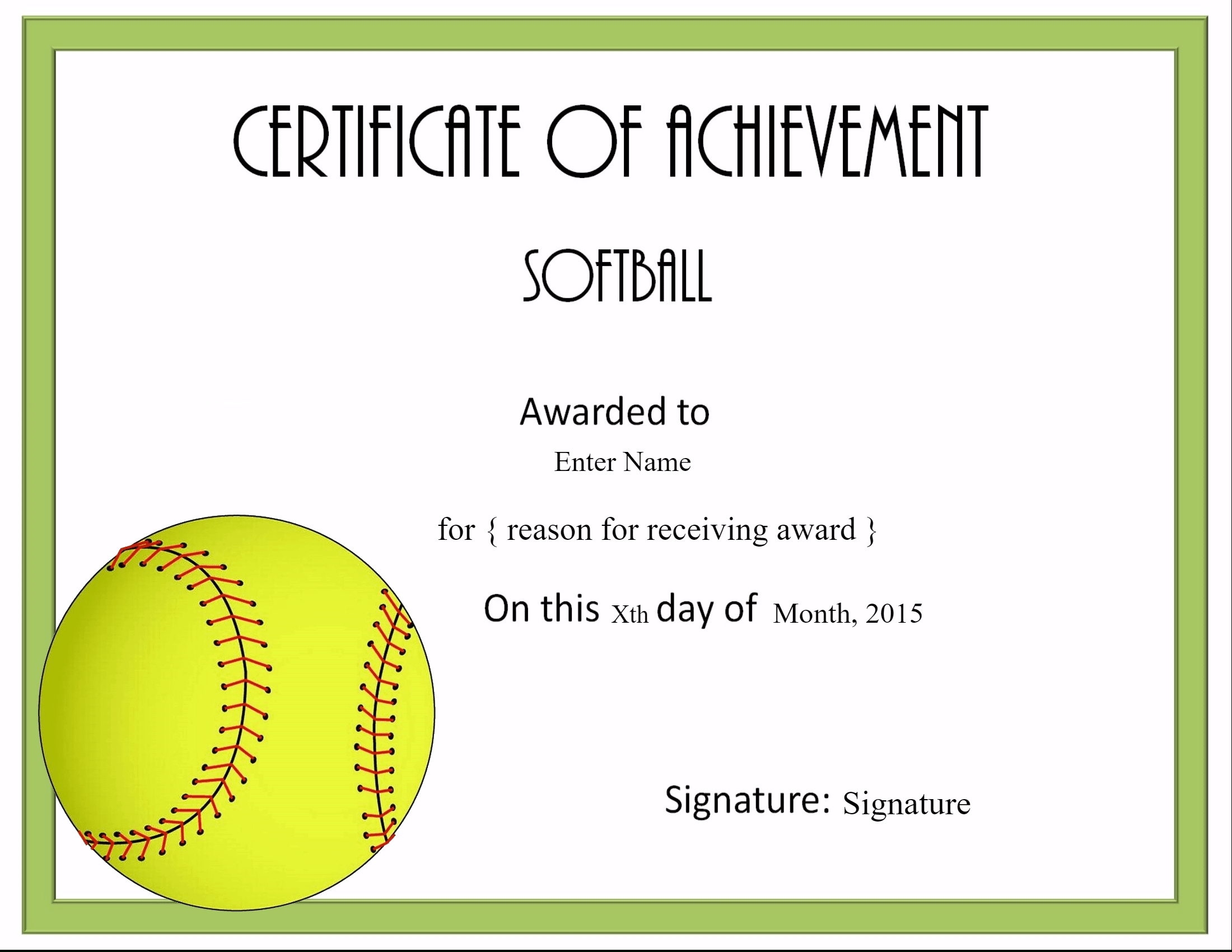 Free Softball Certificate Templates - Customize Online For Free Softball Certificate Templates