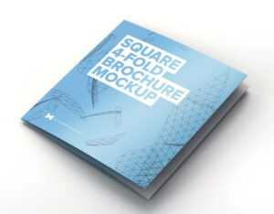 Free Square 4 Fold Brochure Mockup (Psd) intended for Quad Fold Brochure Template
