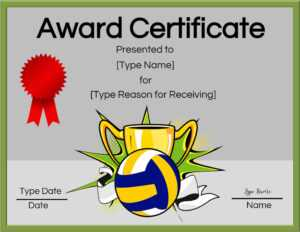 Free Volleyball Certificate | Edit Online And Print At Home with Free Printable Funny Certificate Templates