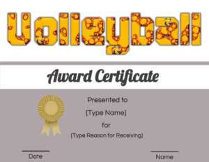 Free Volleyball Certificate | Edit Online And Print At Home within Free Printable Funny Certificate Templates