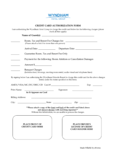 Free Wyndham Hotels Credit Card Authorization Form – Word with Hotel Credit Card Authorization Form Template