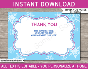 Frozen Party Thank You Cards Template with regard to Soccer Thank You Card Template