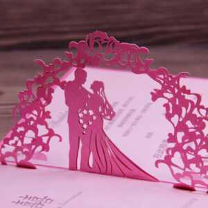 Fuchsia Invitation Wedding Card Laser Cut Art Paper 3D Pop pertaining to Wedding Pop Up Card Template Free