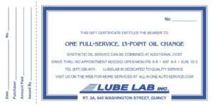 Full-Service, 13-Point Oil Change   All In One & Lube Lab pertaining to This Entitles The Bearer To Template Certificate