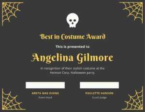 Fun Halloween Best Costume Certificate – Templatescanva within Halloween Costume Certificate Template