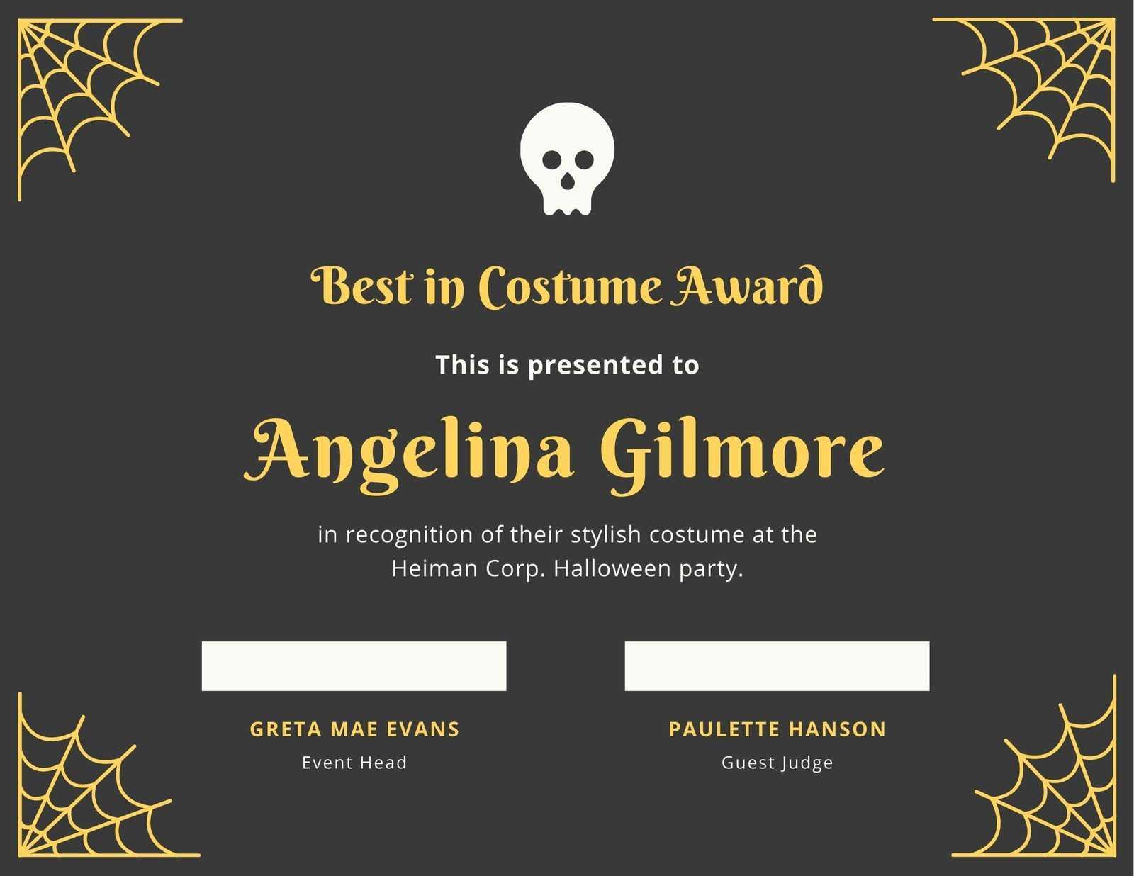 Fun Halloween Best Costume Certificate - Templatescanva Within Halloween Costume Certificate Template