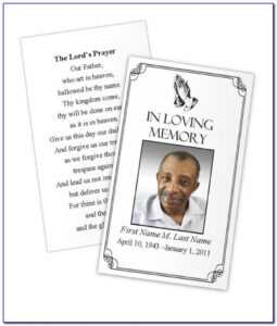 Funeral Prayer Card Template Free | Marseillevitrollesrugby intended for In Memory Cards Templates
