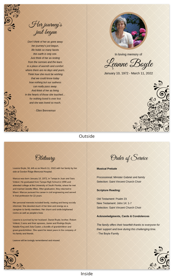 Funeral Program Template In Memorial Brochure Template