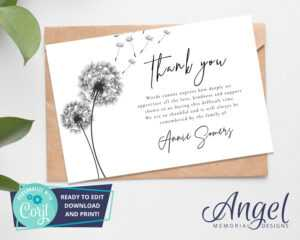 Funeral Thank You Card – Printable Funeral Template | Funeral Printables |  Funeral Acknowledgement Card | Editable Thank You Card | Ds002 for Sympathy Thank You Card Template