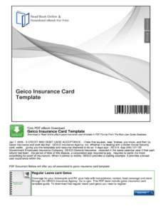 Geico Insurance Card Template Pdf – Fill Online, Printable within Car Insurance Card Template Download