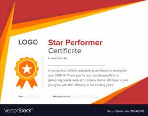 Geometric Red And Gold Star Performer Certificate throughout Star Performer Certificate Templates