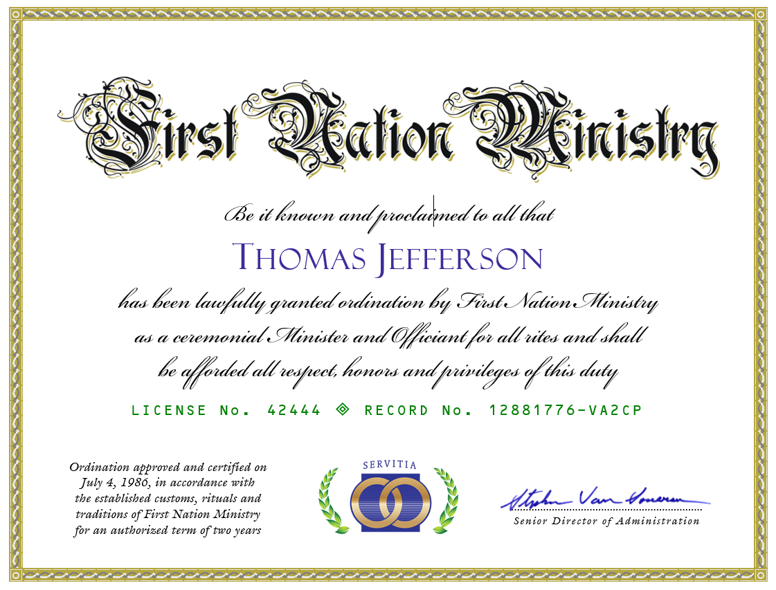 Get Ordained Online - Free Online Marriage Minister Ordination Intended For Ordination Certificate Templates
