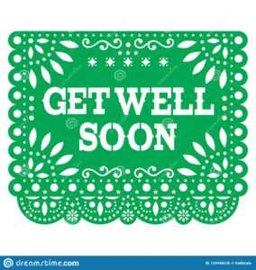 Get Well Soon Papel Picado Greeting Card Or Postcard with regard to Get Well Card Template