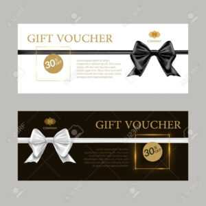 Gift Card Or Gift Voucher Template. Black And White Bows And.. inside Black And White Gift Certificate Template Free