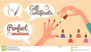 Gift Certificate Perfect Manicure Nail Salon Stock Vector inside Nail Gift Certificate Template Free