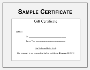 Gift Certificate Sample | Templates At Allbusinesstemplates intended for Sales Certificate Template