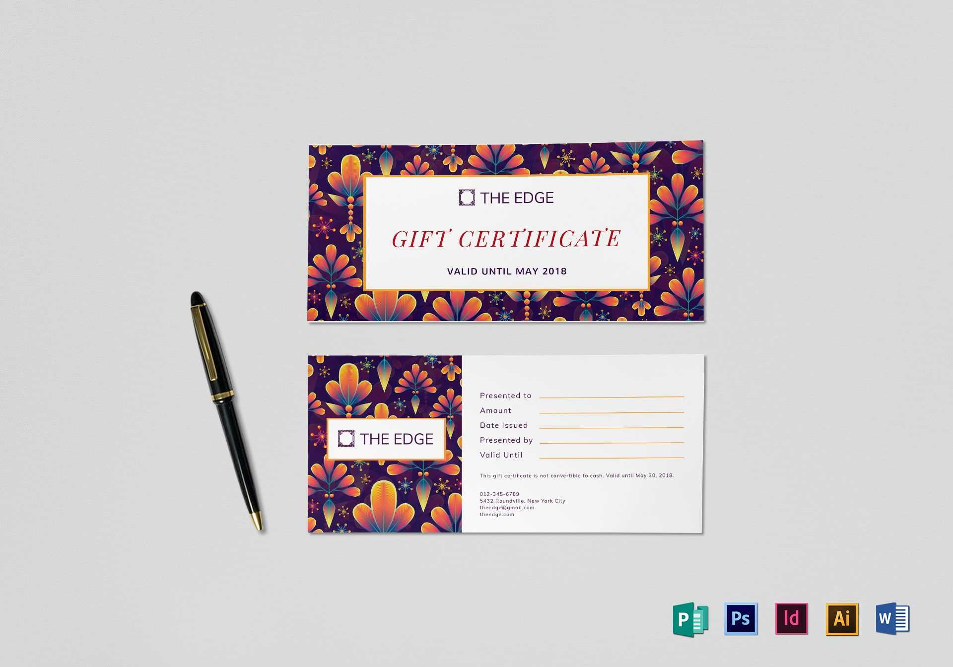 Gift Certificate Template Throughout Gift Certificate Template Indesign