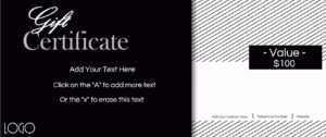 Gift Certificate Template With Logo pertaining to Black And White Gift Certificate Template Free