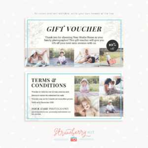 """Gift Voucher Template """"classic Floral"""" – Strawberry Kit for Gift Certificate Template Photoshop"""