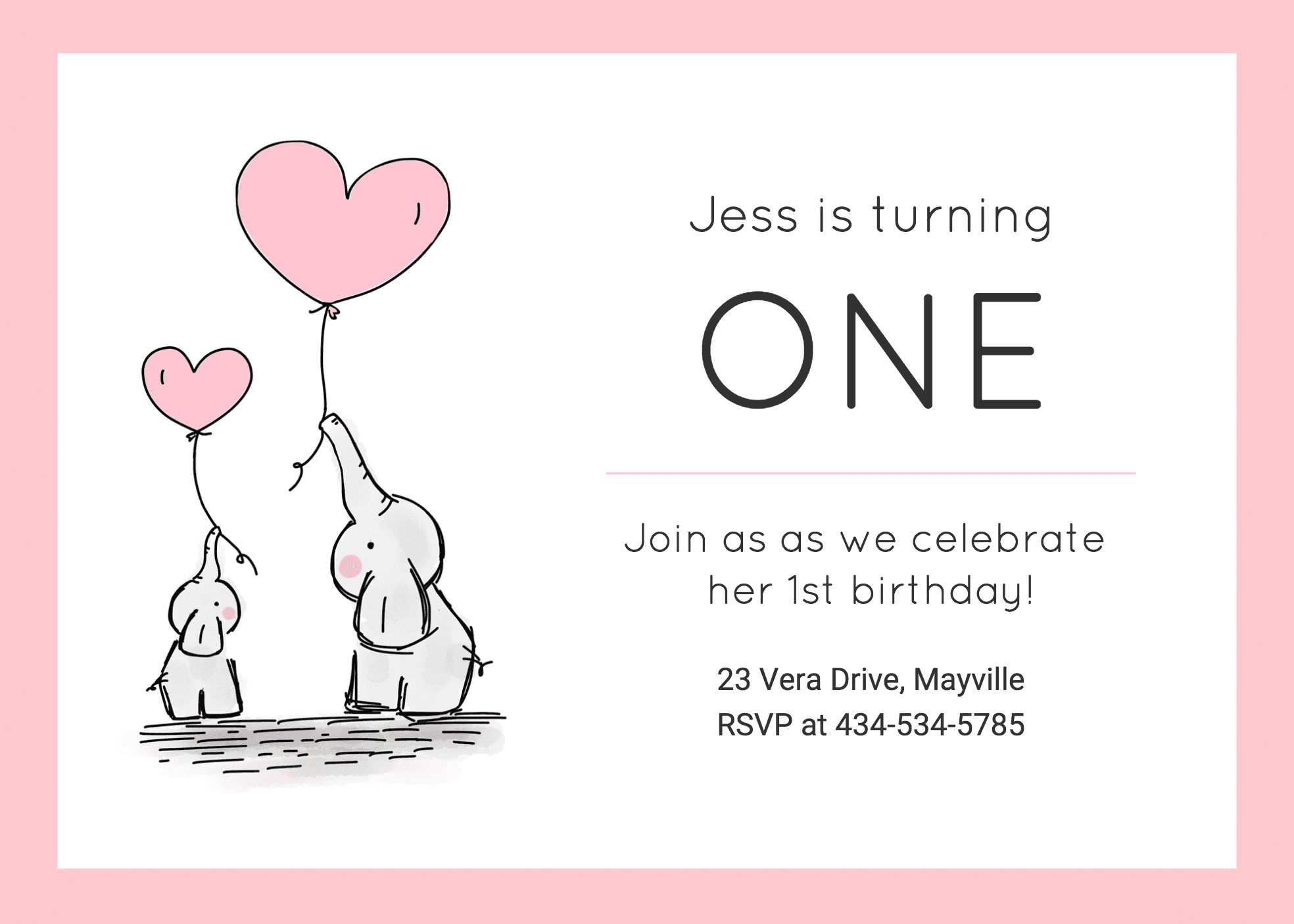 Girls 1St Birthday Invitation In First Birthday Invitation Card Template