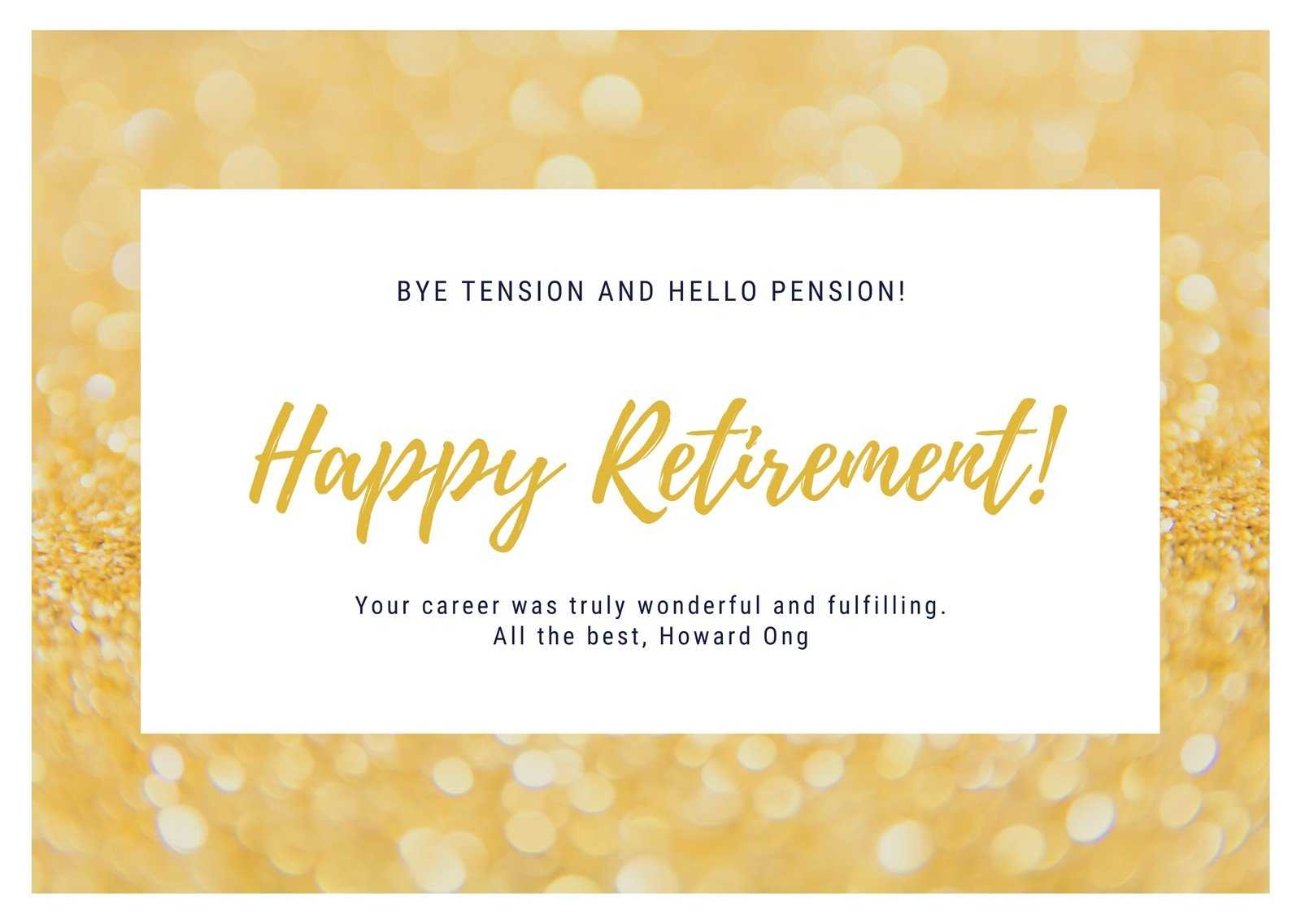 Gold And White Retirement Card - Templatescanva With Regard To Retirement Card Template