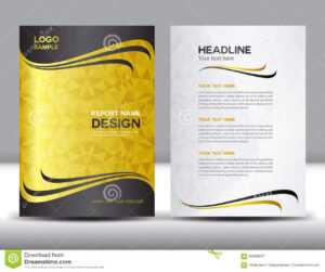 Gold Cover Annual Report Design Vector Illustration Stock within Free Illustrator Brochure Templates Download