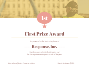 Gold First Prize Award Certificate Template inside First Place Certificate Template