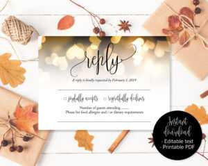 Gold Wedding Rsvp Cards, Gold Hearts Wedding, Reply Acceptance, Attendance  Cards, Rsvp Template, Wedding Printable, Download Rsvp Insert for Acceptance Card Template