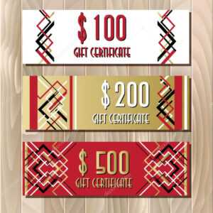 Golden Red Gift Certificate Template In Art Deco Outline intended for Mock Certificate Template