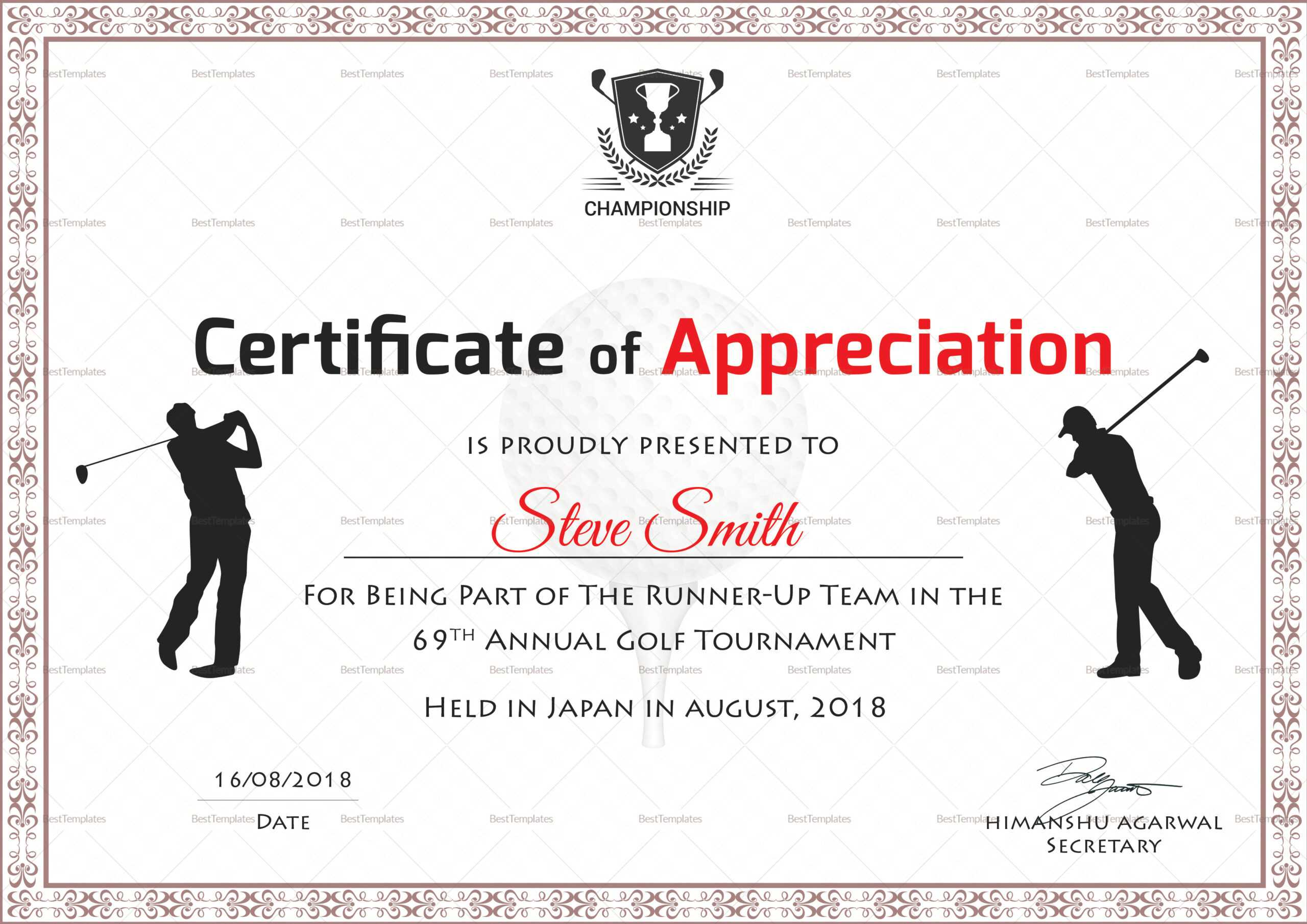 Golf Appreciation Certificate Template With Golf Certificate Templates For Word